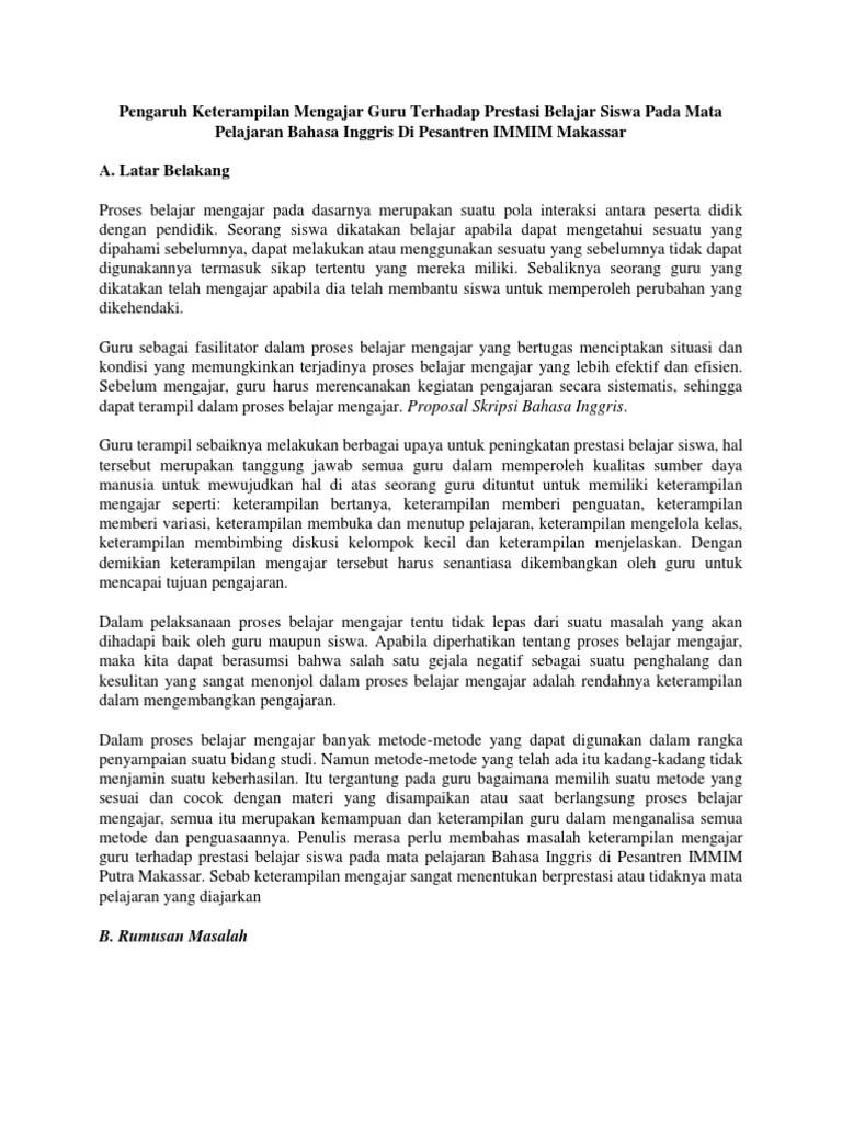 17 Contoh Skripsi Bahasa Inggris Dalam Bahasa Indonesia