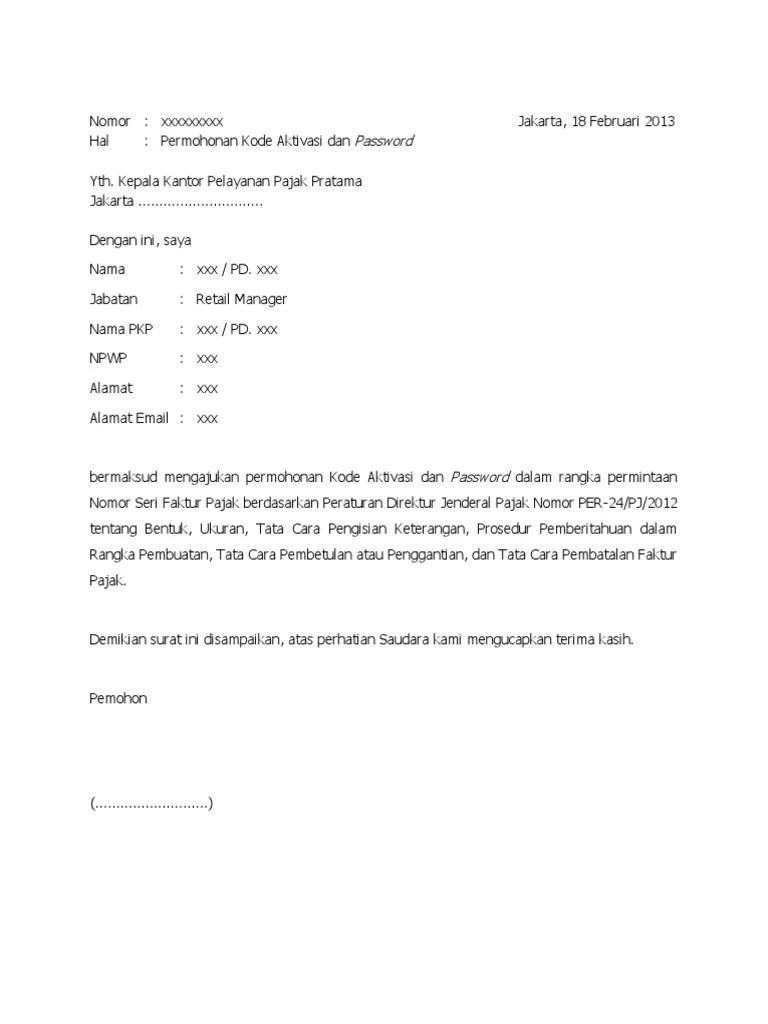 Contoh Surat Aktivasi Faktur Pajak Download Kumpulan Gambar