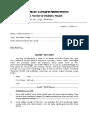 Contoh Surat Visum Et Repertum Download Kumpulan Gambar