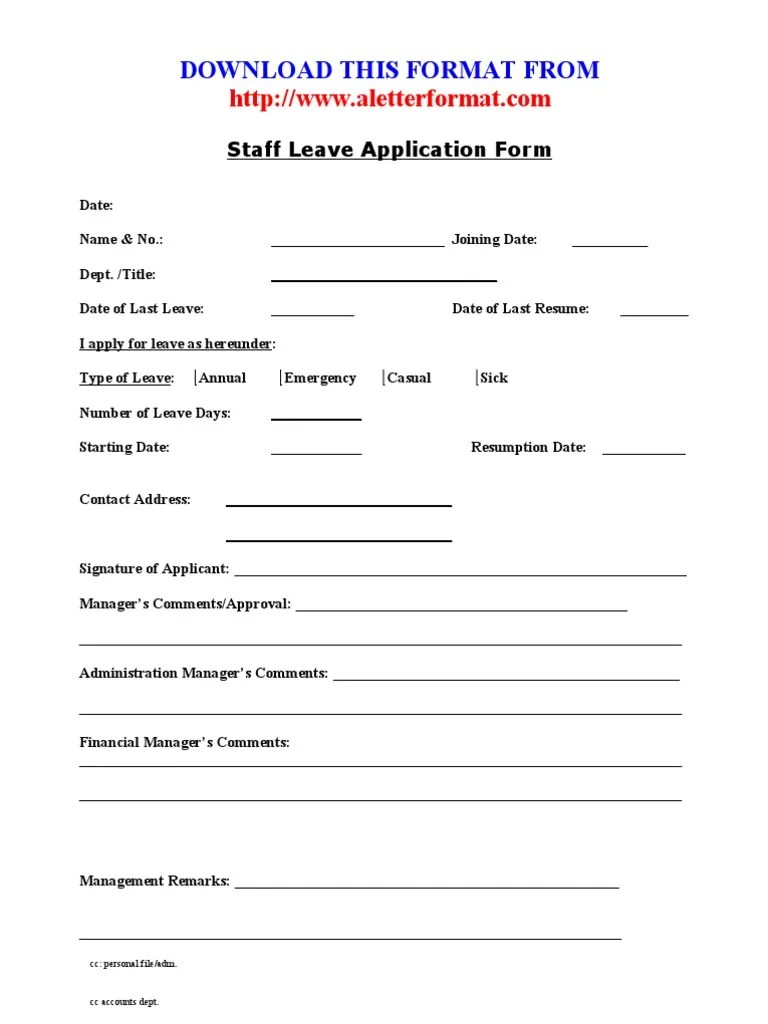 application for leave excel pdf and word employee sick request – Official Leave Application Format