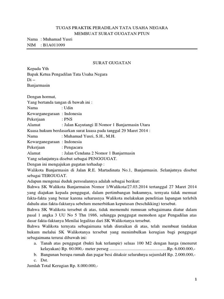 17 Contoh Surat Gugatan Di Ptun