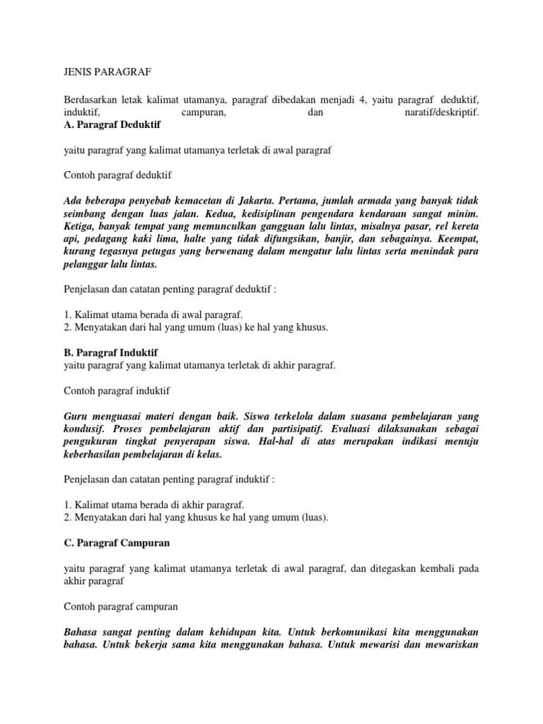 15 Contoh Paragraf Deduktif Induktif Campuran Narasi Deskripsi