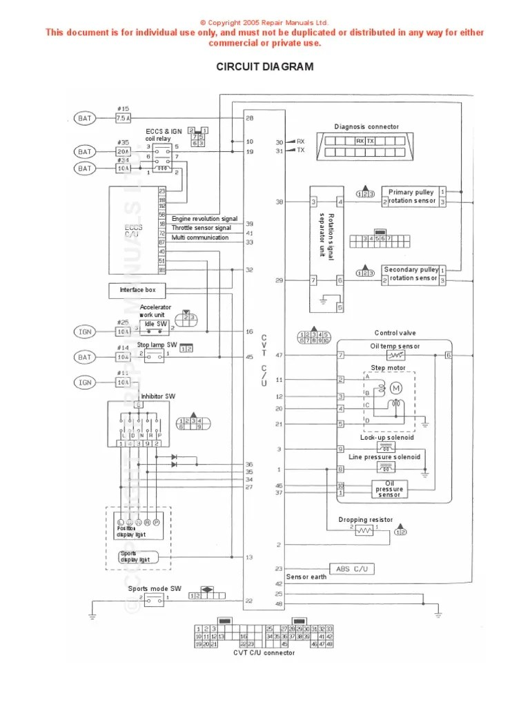 Nissan CVT Wiring Diagram | Throttle | Electrical Components