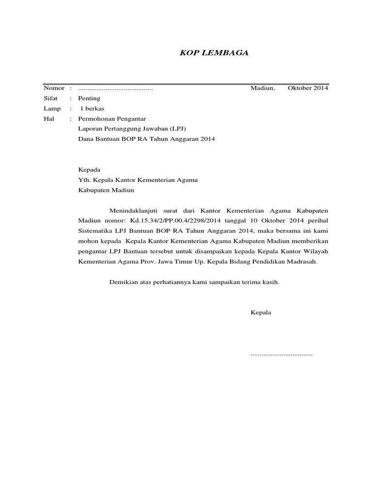 16 Contoh Surat Pengantar Laporan Pertanggungjawaban