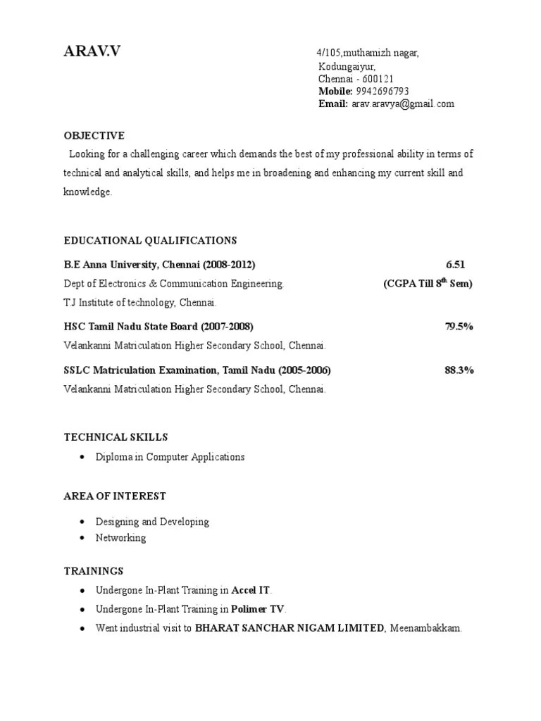 Final Year Engineering Student Resume Format