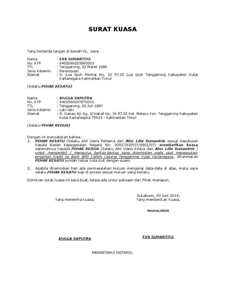 Contoh Surat Kuasa Bank Bpd Kumpulan Contoh Surat Dan Soal Terlengkap