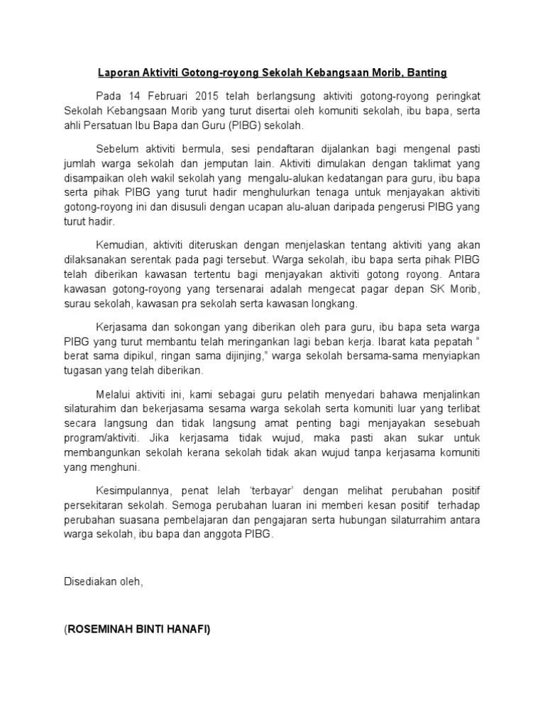 Contoh Laporan Aktiviti Gotong Royong Sekolah