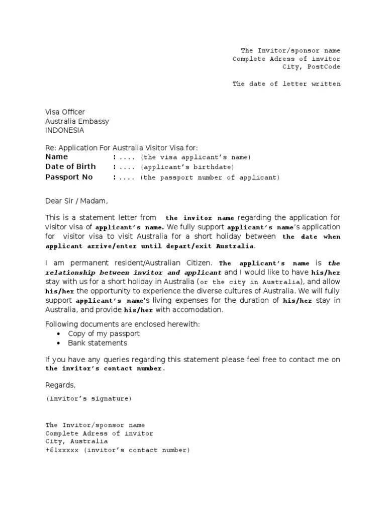 invitation letter for visitor visa