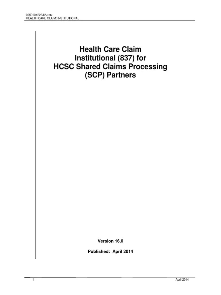 Hipaa 837 Inst Health Insurance Portability And