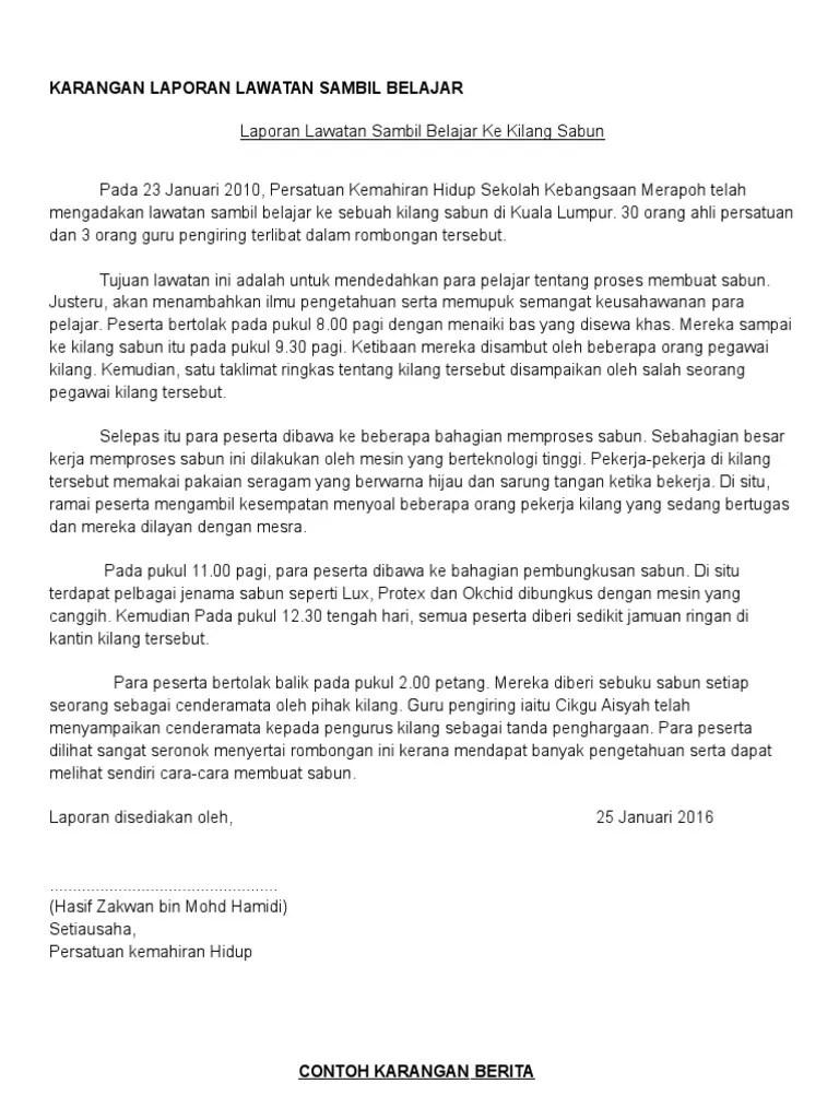 Karangan Laporan Lawatan Sambil Belajar Ke Melaka Pt3
