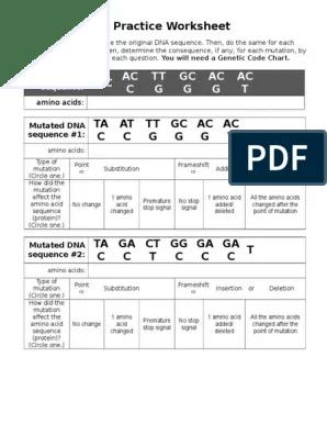 Dna Mutations Practice Worksheet Point Mutation Mutation
