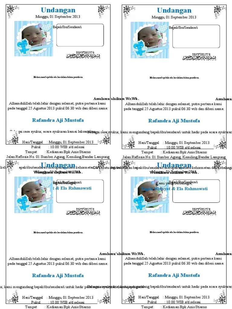Contoh Undangan Aqiqah Doc Simpel Kertas A4 Dibagi 4 Docx