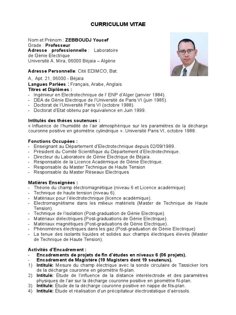 763 Cv Zebboudj Youcef 1 Doctorat Baccalaureat Universitaire