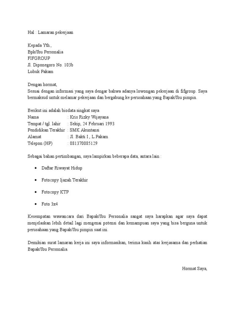 82 Contoh Surat Lamaran Kerja Marketing Representative Dalam Bahasa Inggris