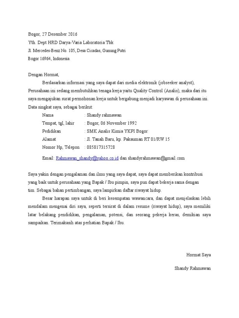 Contoh Surat Lamaran Kerja Analis Kimia Download Kumpulan Gambar