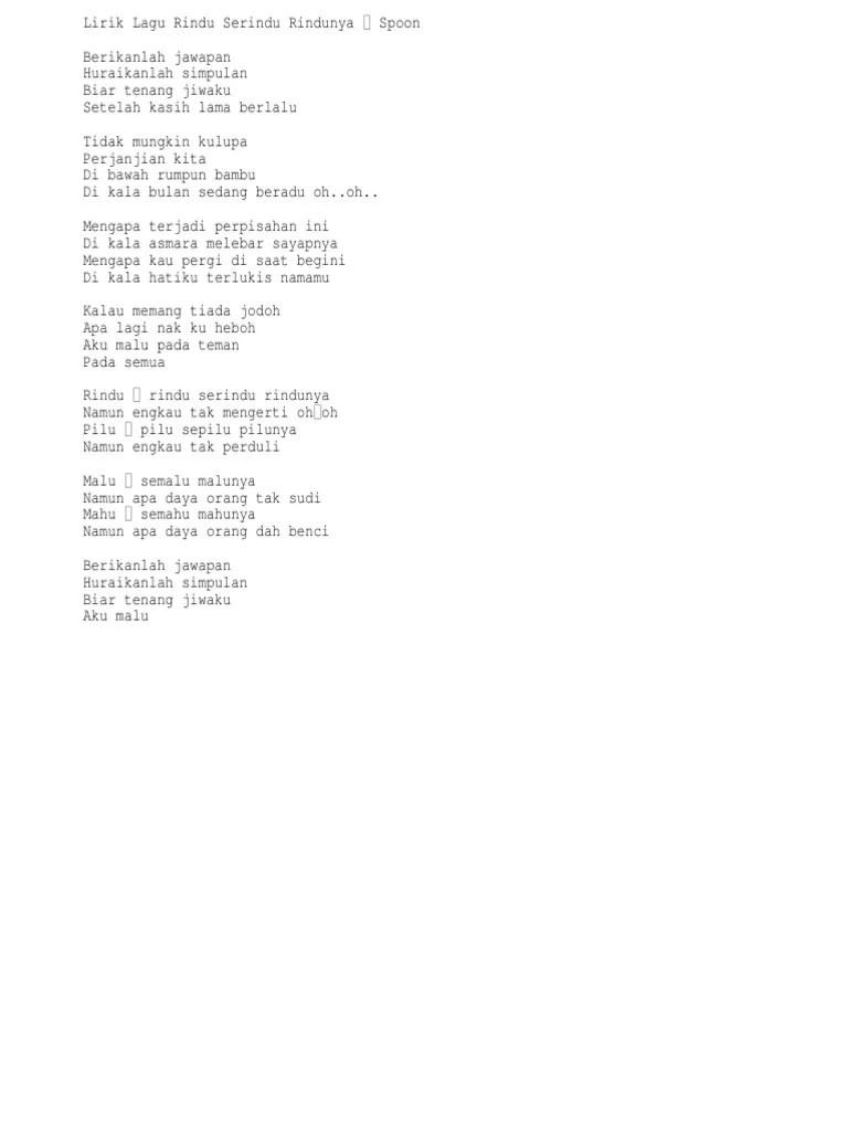 Lirik Lagu Rindu Serindu Rindunya : lirik, rindu, serindu, rindunya, Rindu, Serindu, Rindunya