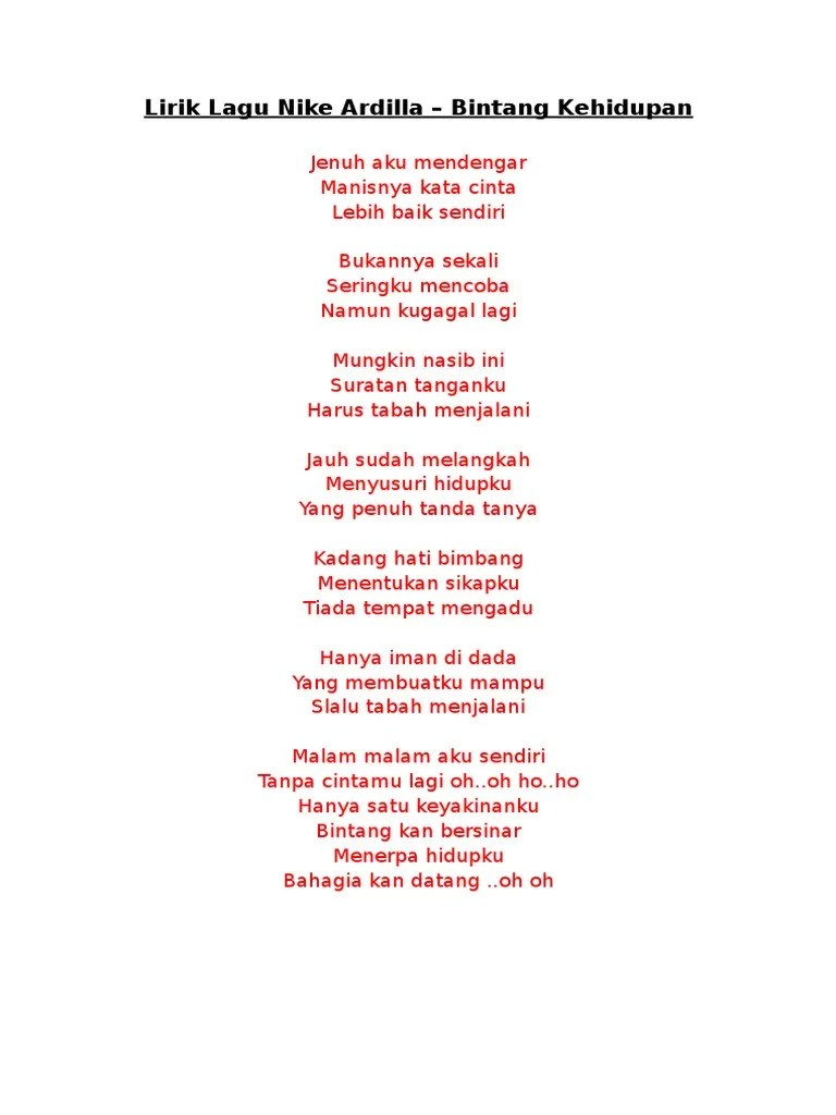 Lirik Lagu Bintang Kehidupan Nike Ardilla