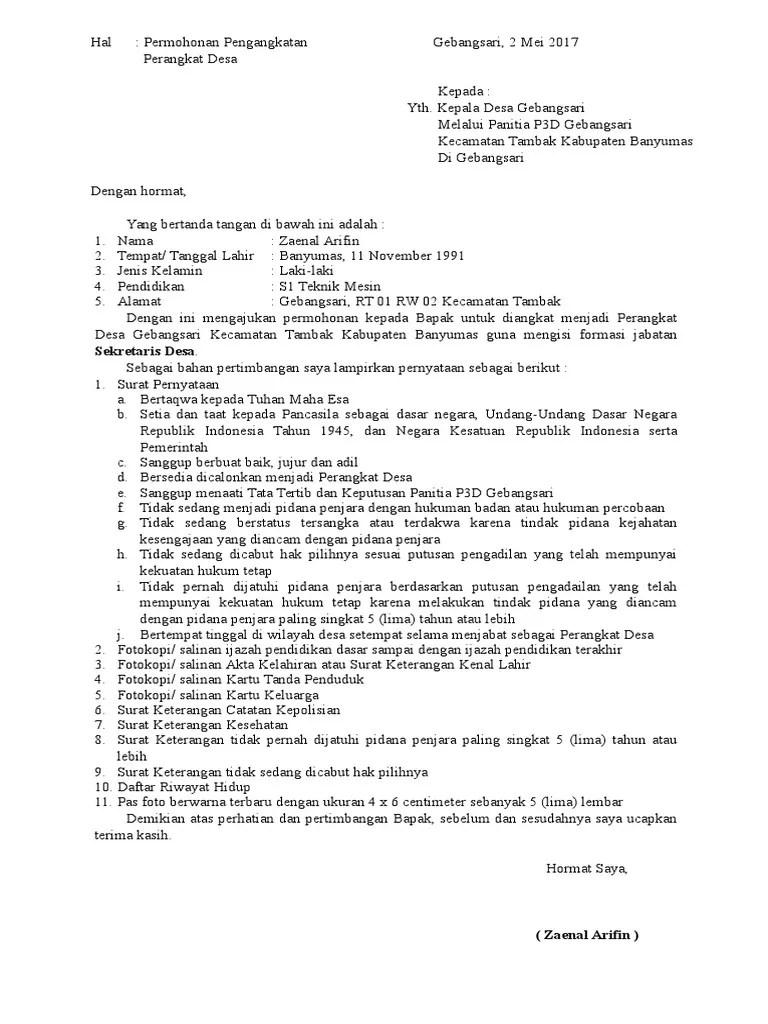 17 Contoh Surat Lamaran Sebagai Perangkat Desa