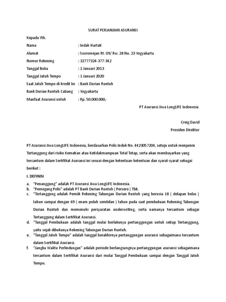17 Contoh Surat Pernyataan Asuransi Jiwa