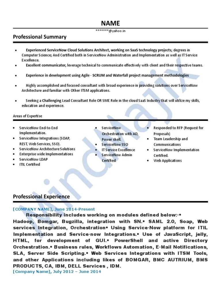 Servicenow Sample Resume 1 It Service Management Cloud Computing