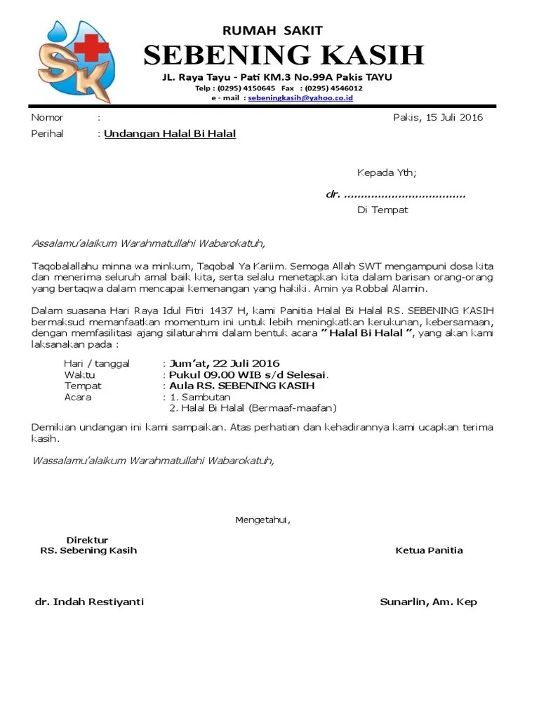 Surat Undangan Halal Bi Halal Warga Rt Doc