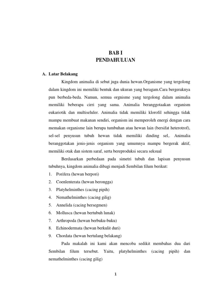TK - PDF Free Download - Contoh makalah filum nemathelminthes