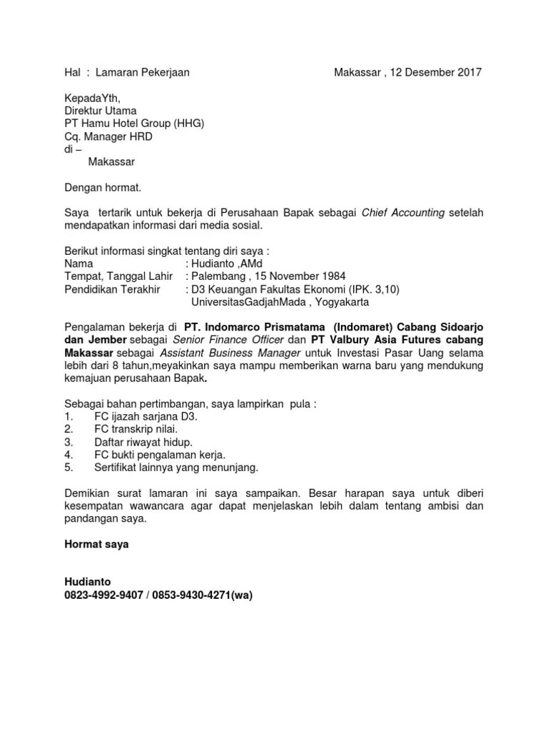 Contoh Surat Lamaran Indomaret 2016 Download Kumpulan Gambar