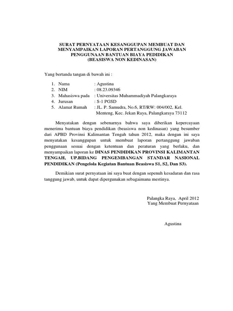 Contoh Surat Pernyataan Kesanggupan Studi S2 Kumpulan Contoh Surat Dan Soal Terlengkap