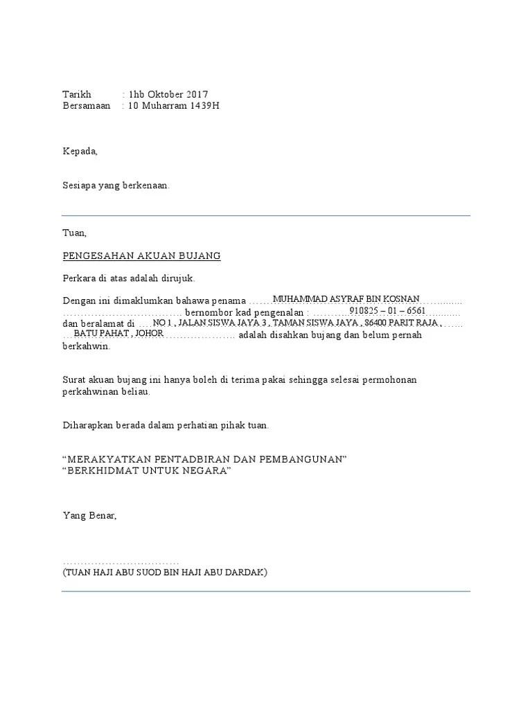 Contoh Surat Akuan Bujang Johor