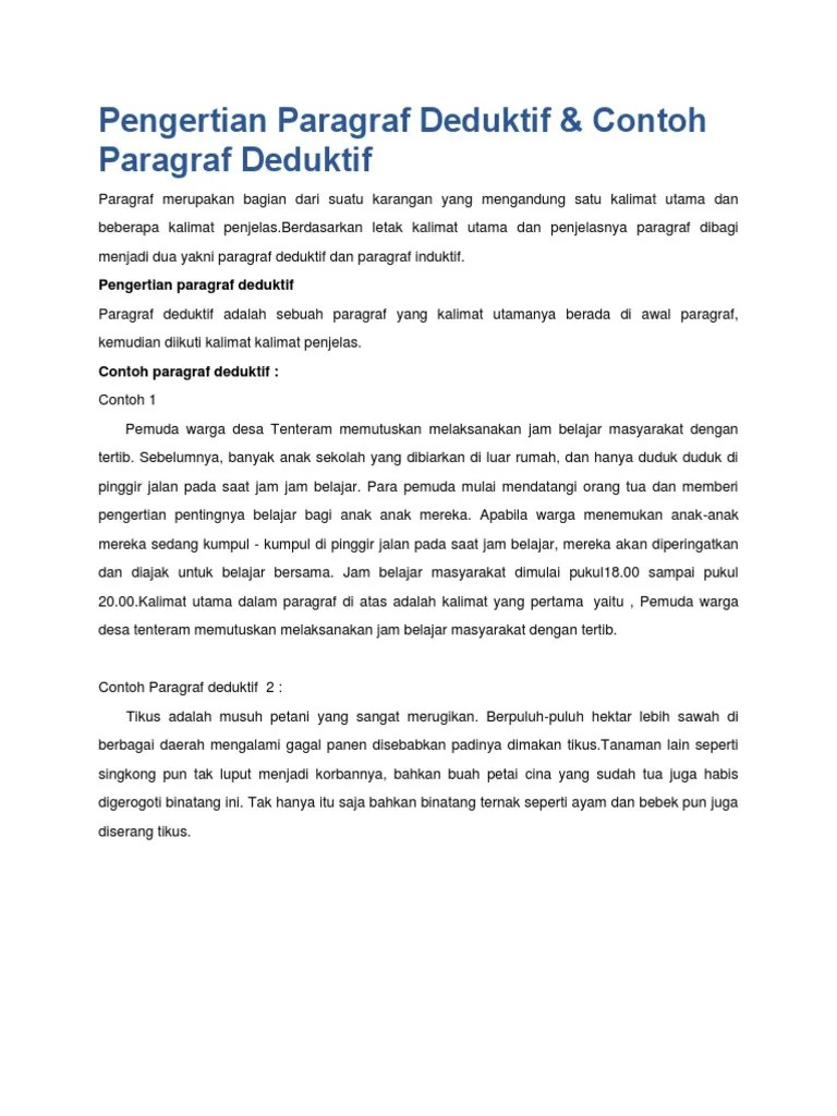 17 Contoh Paragraf Deduktif Induktif Dan Campuran Tentang Kebersihan