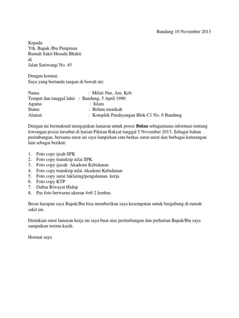 Contoh Surat Lamaran Kerja Bidan Di Klinik Jawa