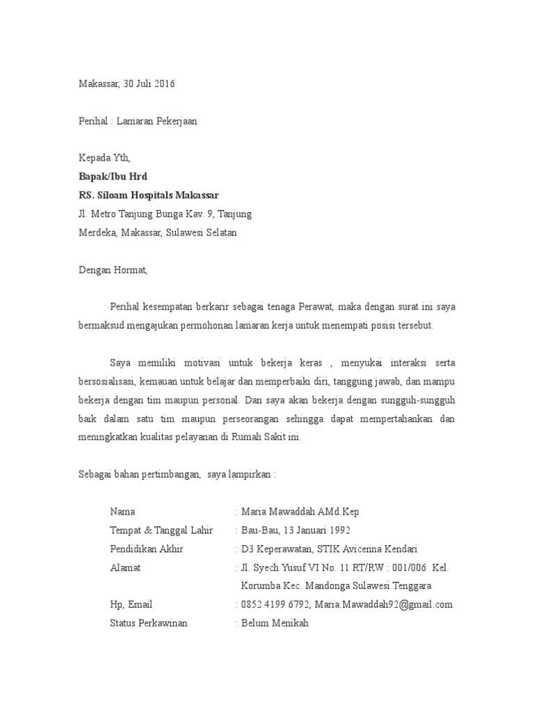 15 Contoh Surat Lamaran Rs Siloam Makassar
