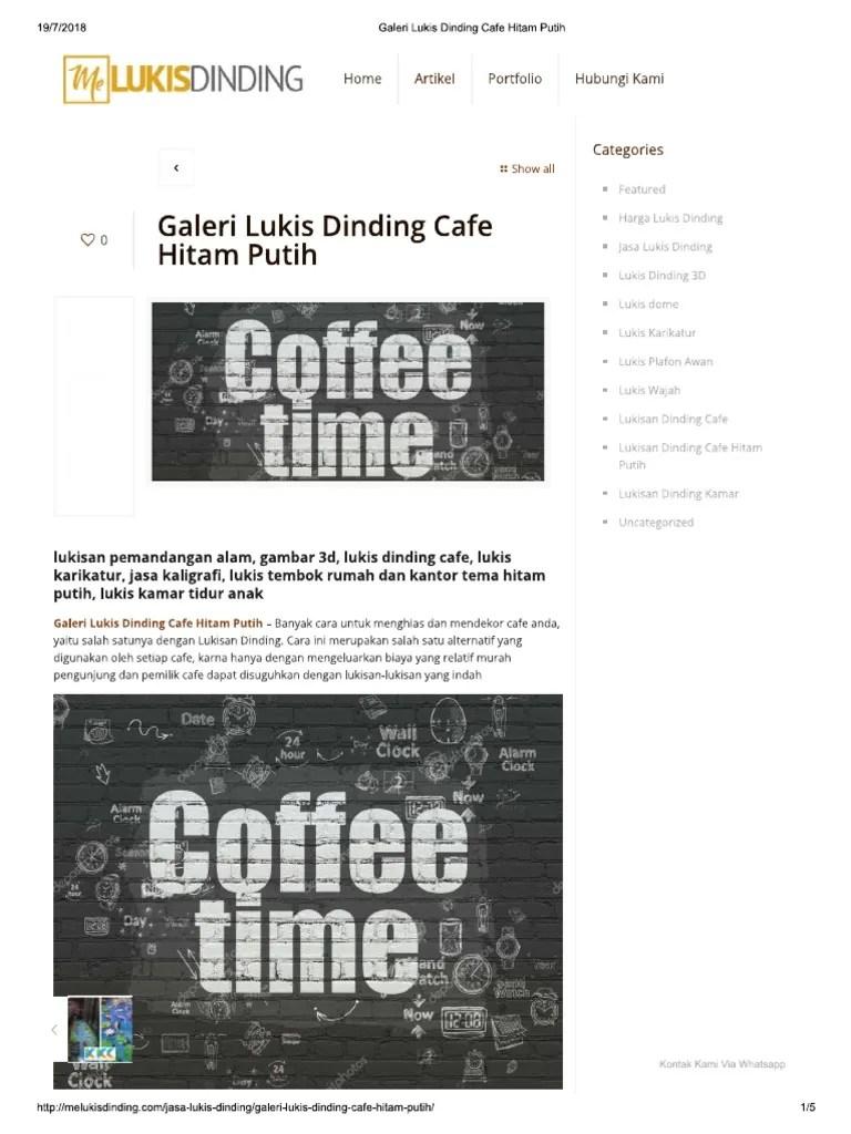 Galeri Lukis Dinding Cafe Hitam Putih