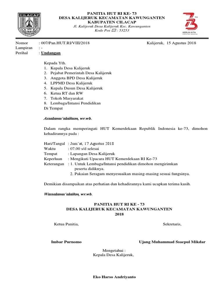 Kumpulan Contoh Surat Undangan Rt 17 Agustusan Hut Ri Ala