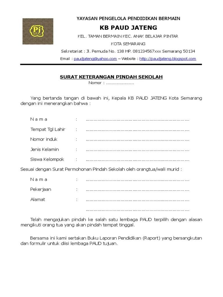 Contoh Surat Permohonan Pindah Sekolah Tk