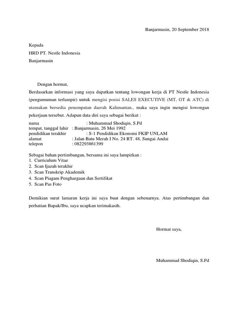 99 Contoh Surat Lamaran Kerja Pt Nestle Dalam Bahasa Inggris