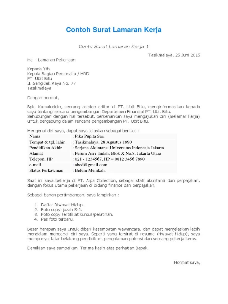 Contoh Surat Lamaran Terbaru Mei 2015 Download Kumpulan Gambar