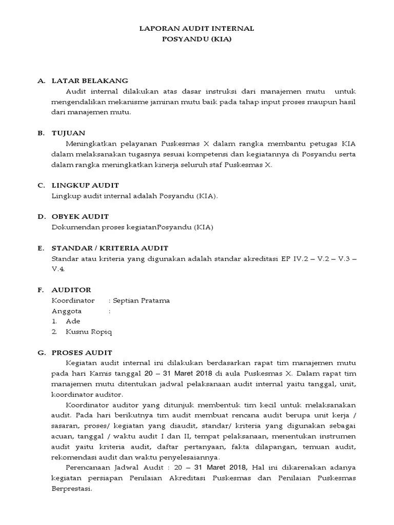 18 Contoh Makalah Auditor Internal