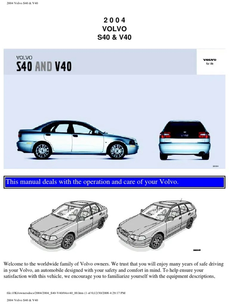 Volvo s40 v40 Owners Manual 2004 | Airbag | Seat Belt