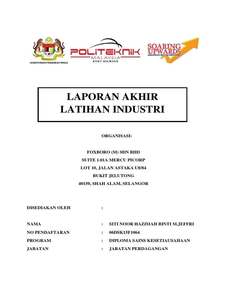 Contoh Laporan Akhir Latihan Industri Politeknik Jabatan Perdagangan 2018
