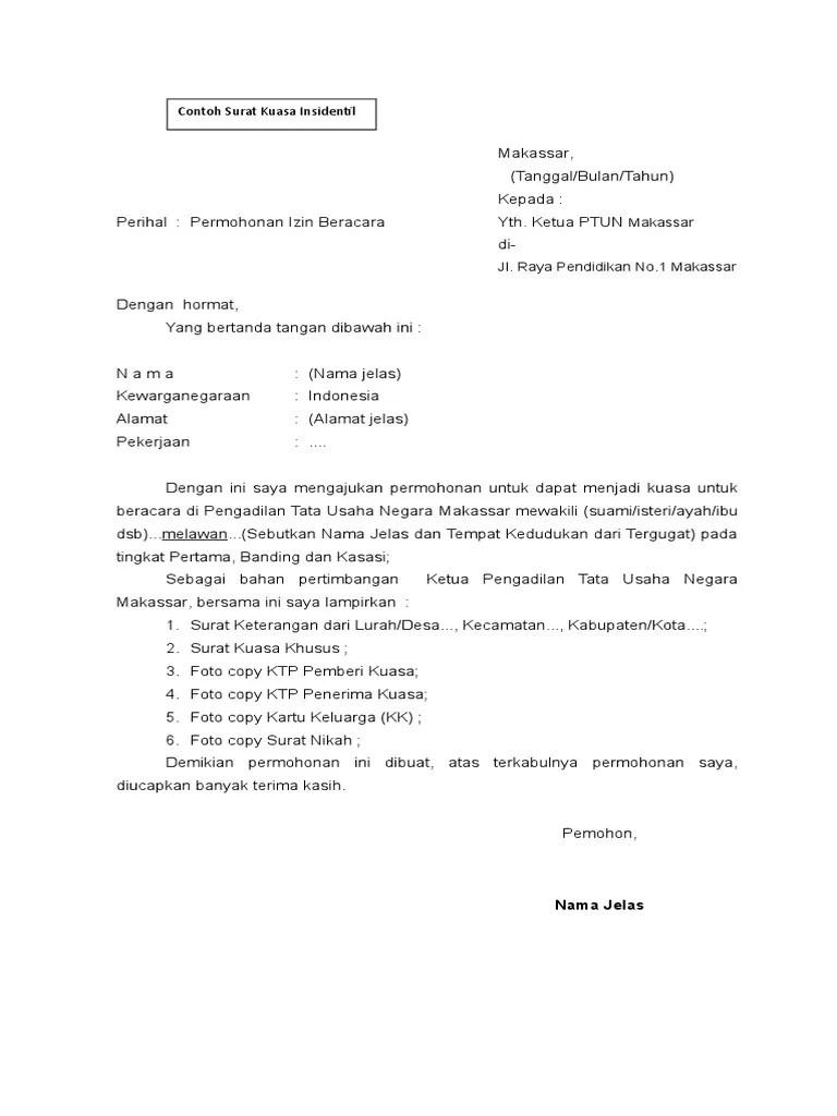 18 Contoh Surat Permohonan Kuasa Insidentil