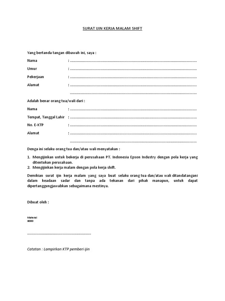 Contoh Surat Izin Orang Tua Kerja Malam Download Kumpulan Gambar