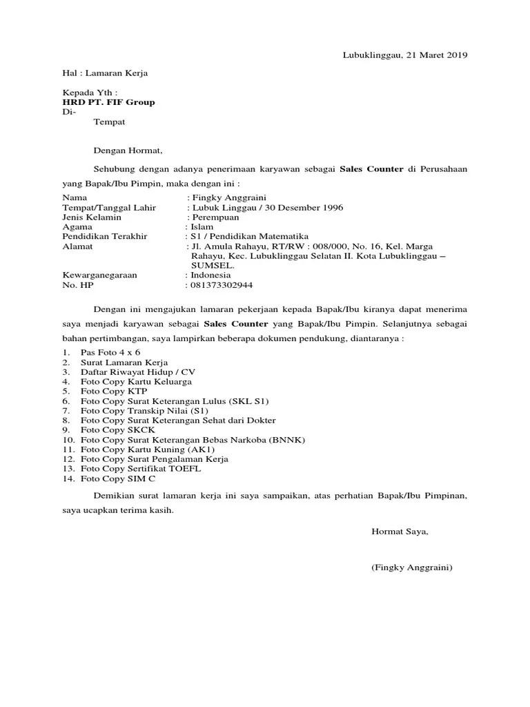 59 Contoh Surat Lamaran Kerja Pt Astra Group