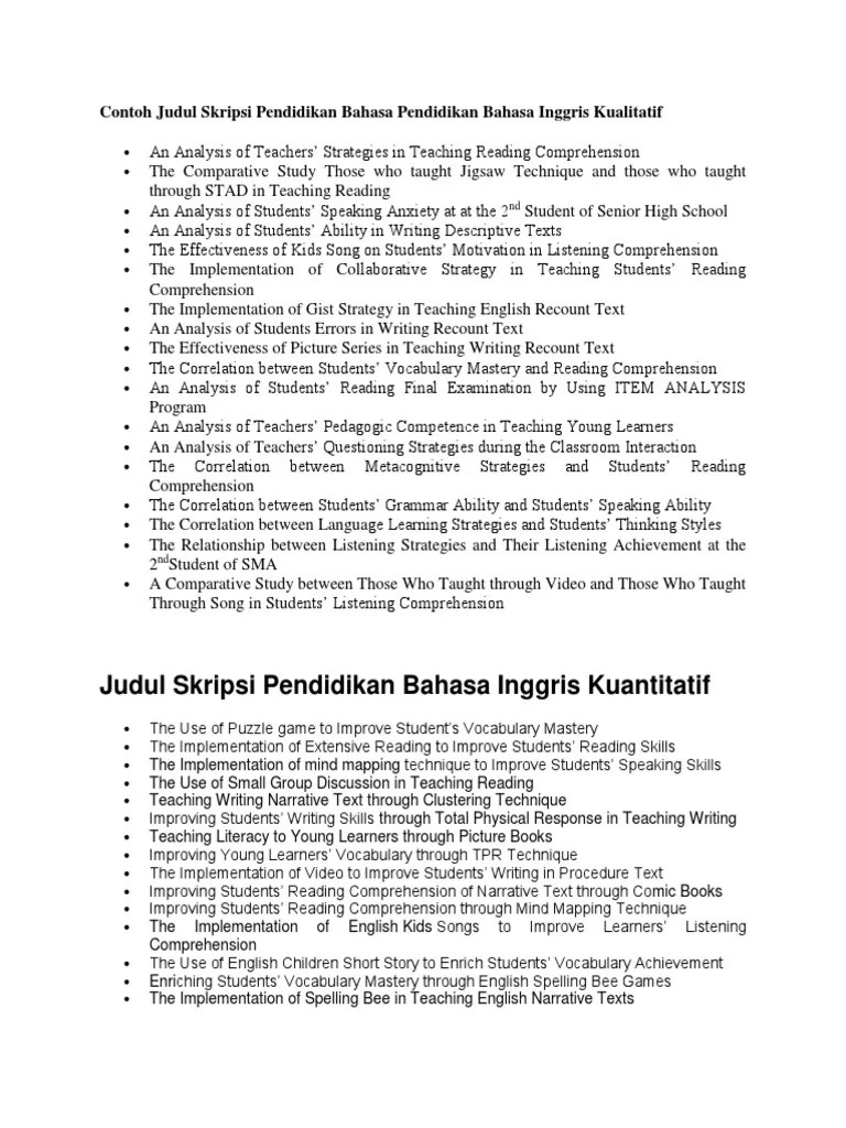 17 Contoh Judul Skripsi Reading Comprehension