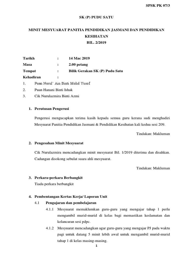 Minit Mesyuarat Panitia Pendidikan Jasmani 2020