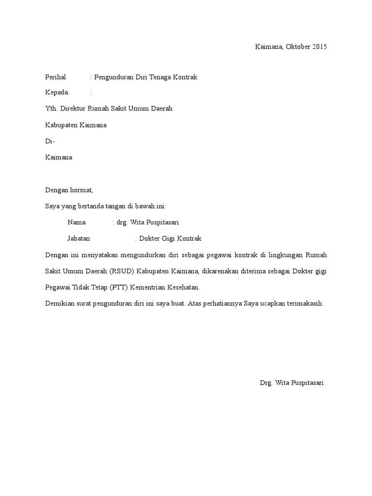Karyawan Kontrak Contoh Surat Resign Simple Nusagates