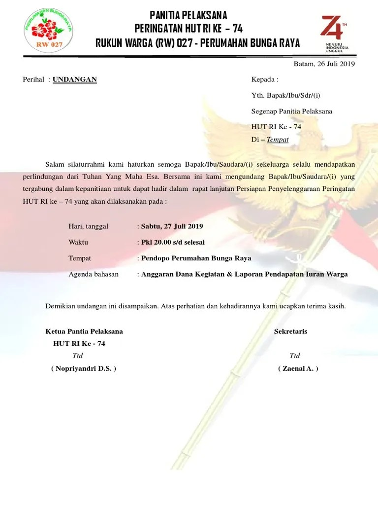 Contoh Surat Laporan Kegiatan Hut Ri Download Kumpulan Gambar