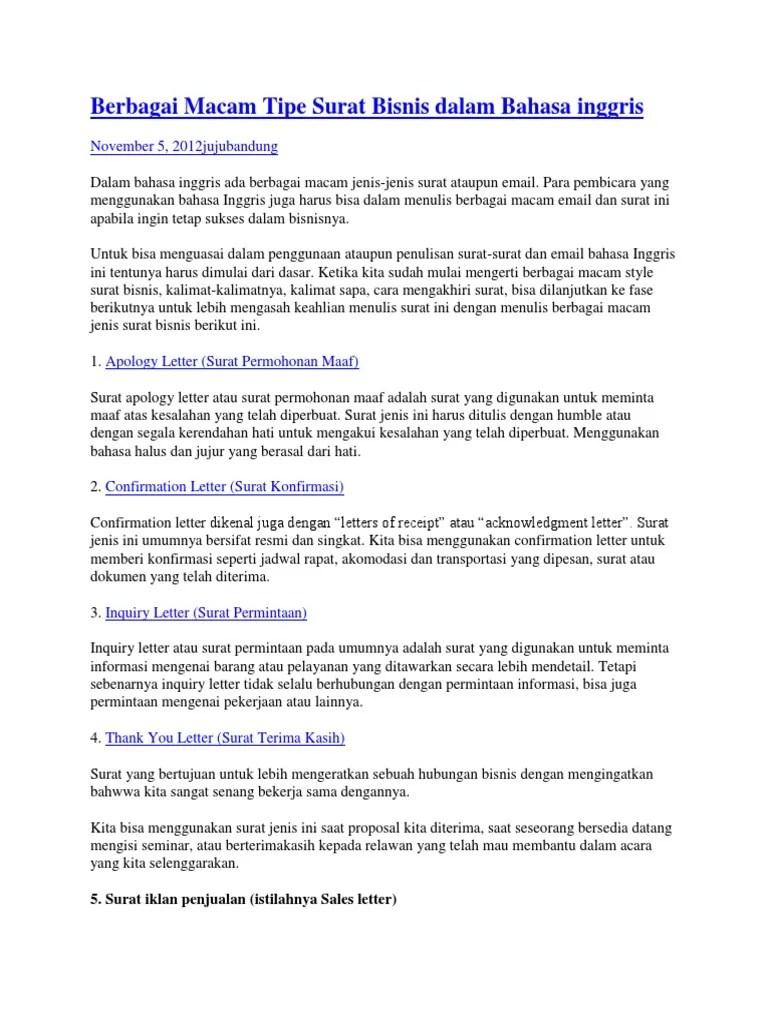 Contoh Macam Macam Surat Bisnis Dalam Bahasa Inggris Download Kumpulan Gambar