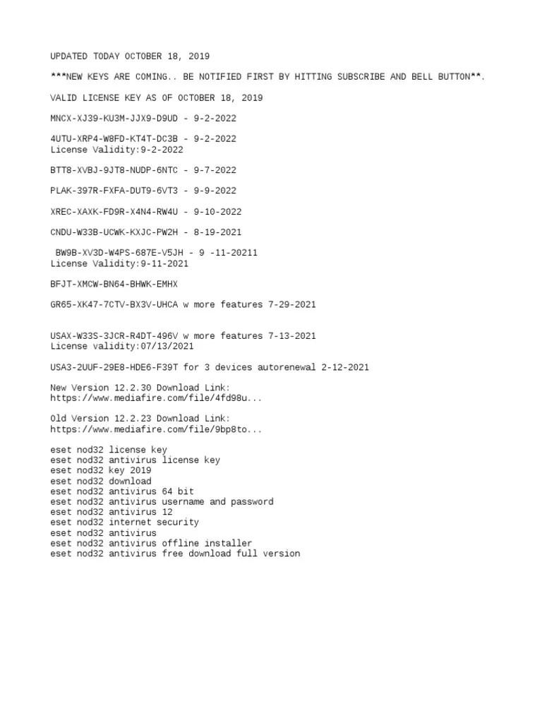 Eset Nod32 Antivirus License Key 2022 Free