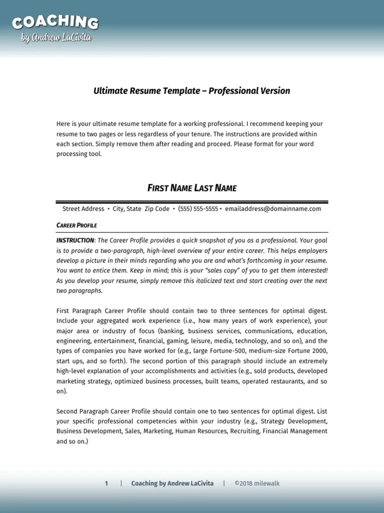Prof Resume Template Lacivita Pdf Resume Employment